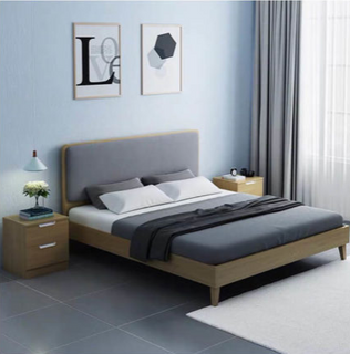1.8 meter Lower Price Scratch Proof Latest Design Solid Wood president bed (UL-9GD303)